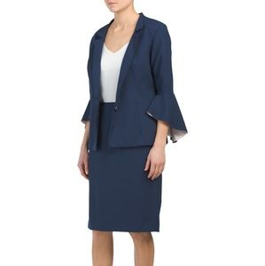 Isabella 2pc jacket with ruffle sleeve&skirt suit
